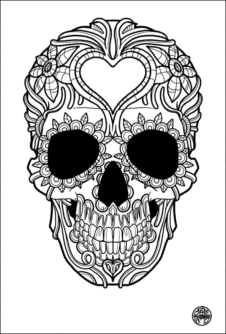 free coloring page coloring adult tatouage simple skull tattoo - Detailed Coloring Pages 2