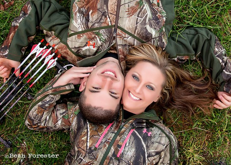 Engagement photo of hunting couple