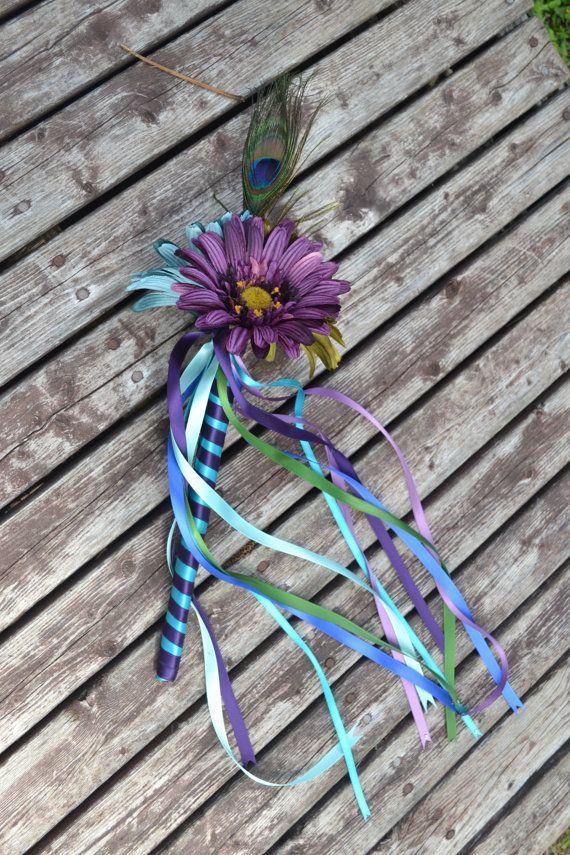 Peacock Flower Girl Wand Silk Wedding Flowers By