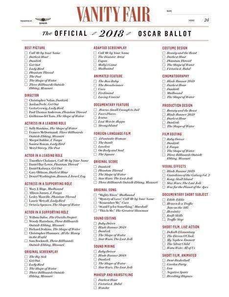 Vanity Fair Oscar Ballot for Your Oscar Party Needs! Oscar's 2018