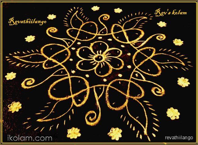 Rangoli Rev's easy chikku 16 flower & deepam. 1 dots on 6 sides as in kolam. It give star shape. | www.iKolam.com