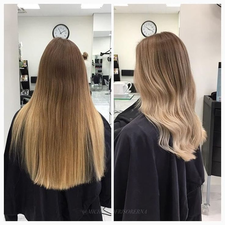Vi slingar igenom håret med balayageteknik och tonar sedan in botten i en nyans som ligger väldigt nära kundens egna färg. #balayage #olaplex #wavyhair