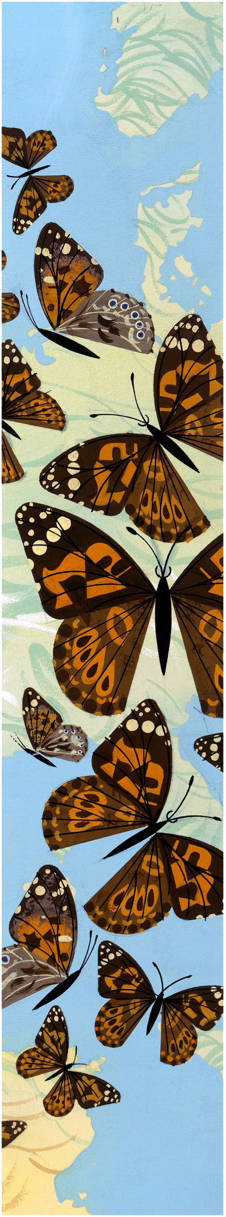 Blue Sky and Butterflies by Charley Harper, Monarch Butterflies