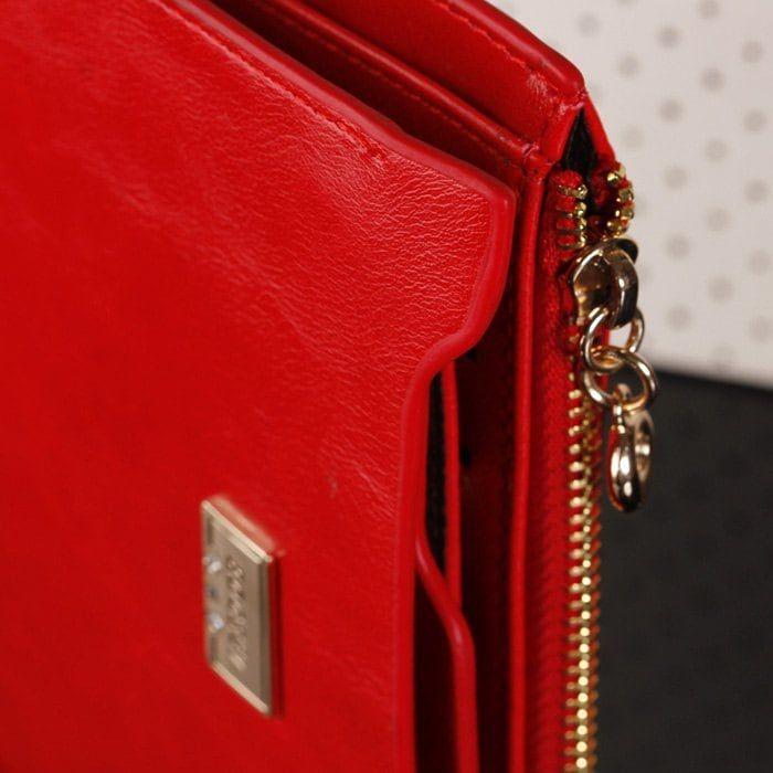 PU Leather Multi Function Bi Fold Wallet - RED