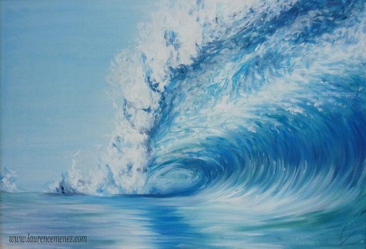 """""""Vague"""" Toile peinte en peinture à l'huile, thème marin"""