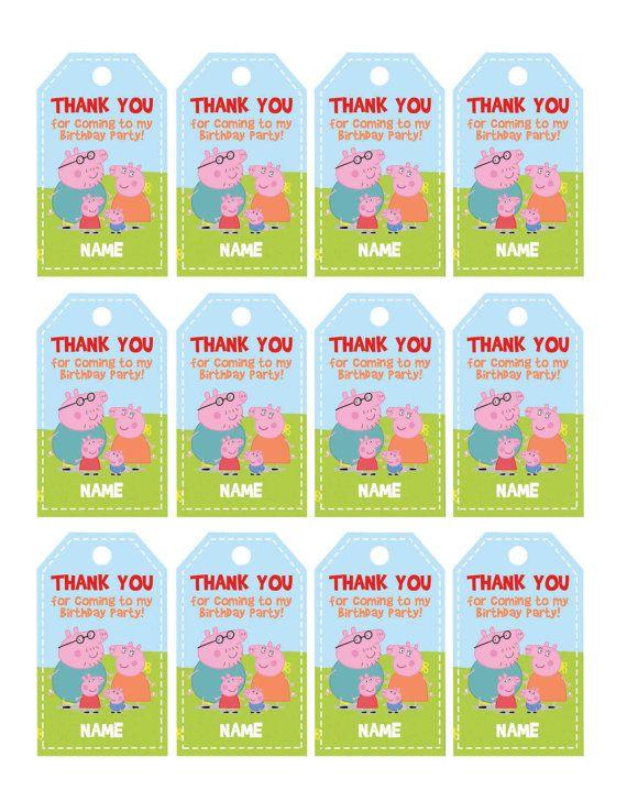 peppa pig thank you tags  peppa pig birthday favor tags