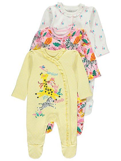 Jungle Animals Sleepsuits 3 Pack Little Human Punto De Cruz