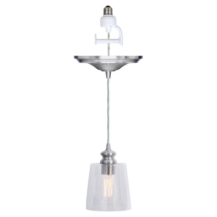 Worth Home Products Instant Screw In Pendant Light with Clear Cylinder Glass Shade
