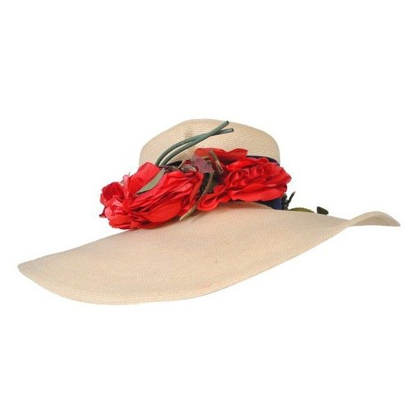 Preowned 1940s Straw Hat W/red Flowers (13.315 RUB) ❤ liked on Polyvore featuring accessories, hats, vintage, beige, straw hat, red wide brim hat, rose flower crown, vintage straw hat and red hat