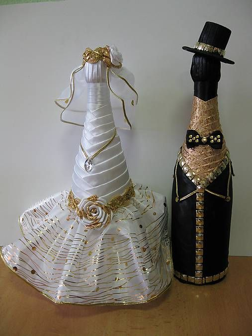Svadobná fľaša nevesta - zlatá / zpmpvranov - SAShE.sk - Handmade Nádoby