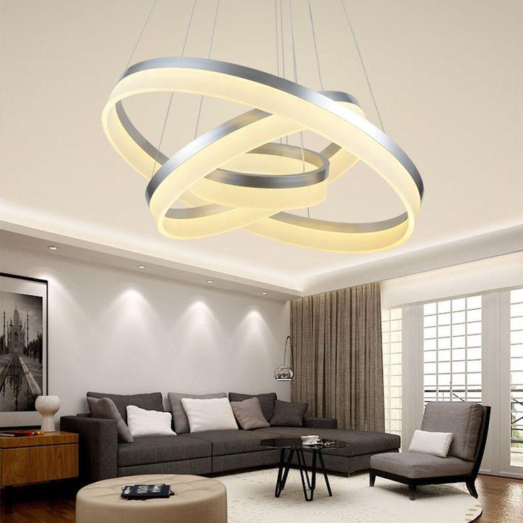 Anxiong 3 кольцо 60 + 80 + 100 см 40 + 60 + 80 см 150 Вт Современные светодиодные люстры лампы для гостиной подвесные потолки подвесные светильники купить на AliExpress