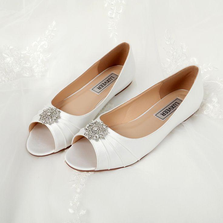 Satin Ivory Satin Shoes Wedding Crystal Bridal Shoes Wedding Shoes Flats  Unique Design Flat Wedding Shoes