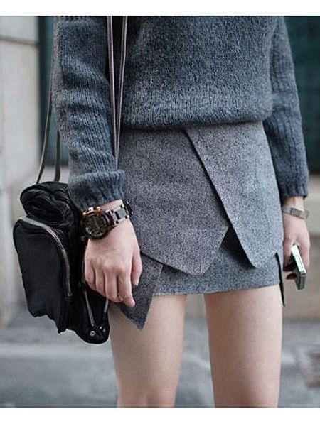 Pencil Skirt In Dark Gray