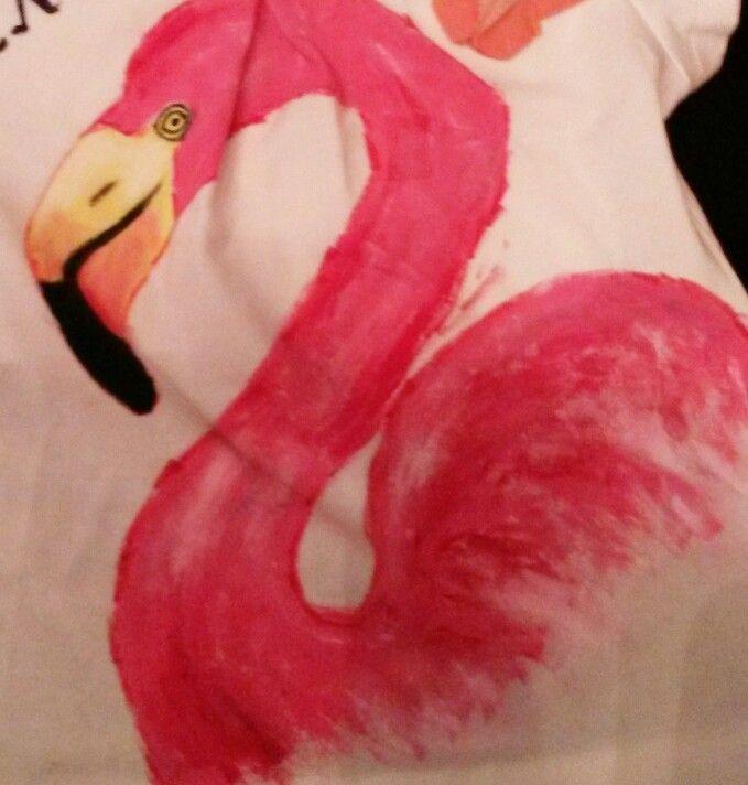Hand painted, t shirt, baby girl, flamingo