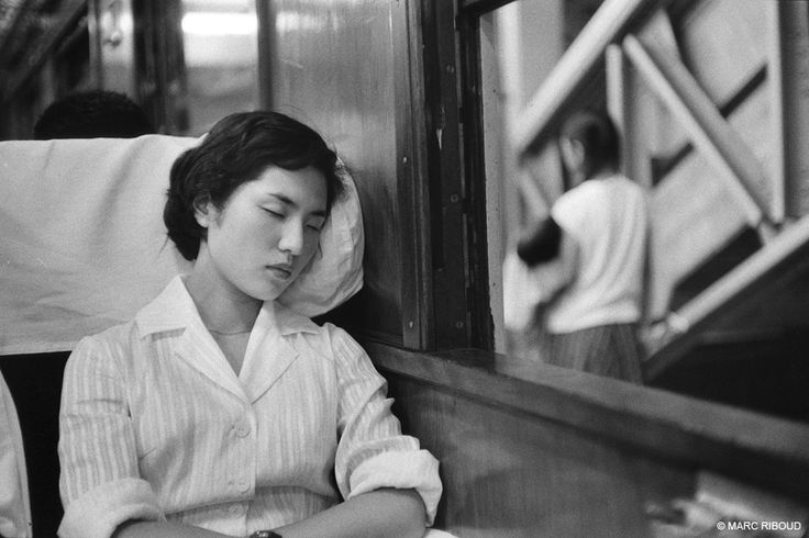 Japan, 1958. In a train. Marc Riboud