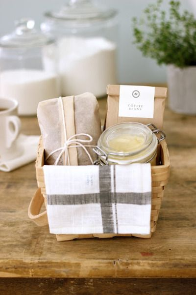 easy diy gift idea...coffee...bread loaf...spread...tea towel..basket