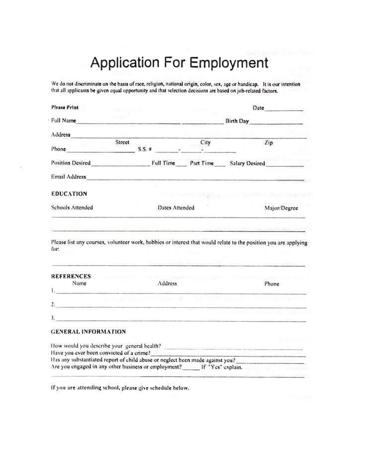 Child Care Employment Application Job Job Application