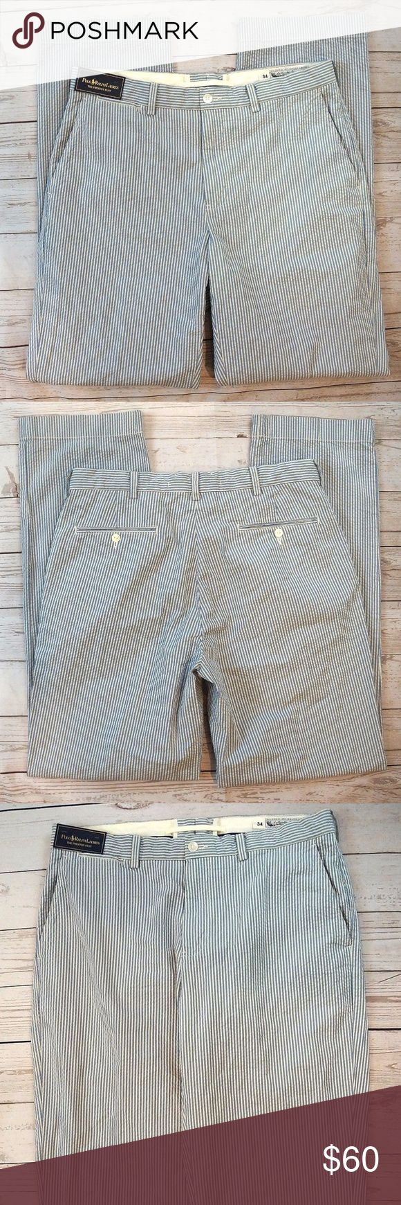 """Polo Ralph Lauren Preston Seersucker Mens Pants Polo Ralph Lauren Preston Seersucker Mens Pants Size 34 X 34 NWT  Hand Measurements: Waist: 34"""" Inseam: 34"""" Rise: 10.5"""" Thigh: 26"""" Leg Opening: 9""""  All orders are shipped within 24 hours of payment Monday through Friday  PM#2869 Polo by Ralph Lauren Pants Dress"""