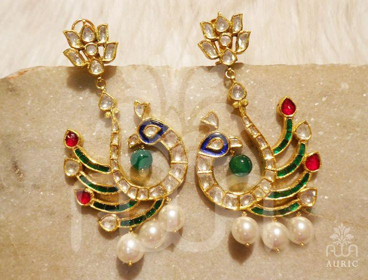 Peacock motif Kundan earrings with semi precious stones