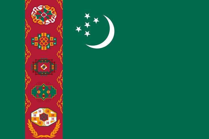 Turkmenistan's national flag is green, with a carpet running top to bottom on the flagpole side, along with an olive branch and a crescent, which is a symbol of a bright future. Description from countryaah.com. I searched for this on bing.com/images