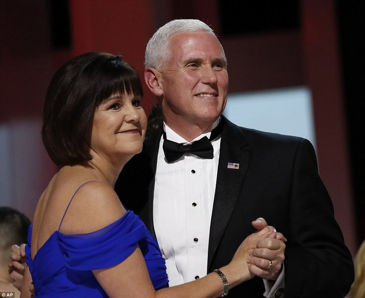 Vice President Mike Pence was joined on stage by his wife Karen who stunned in an electric blue gown