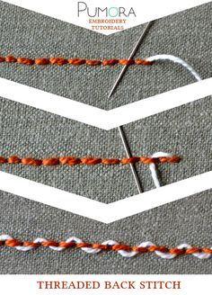 Pumora's stich-lexicon: threaded back stitch, umschlungener Rueckstich/Rückstich (DE); point de piqûre rebrodé/orné/entrelacé (FR); punto pespunte entrelazados (ES)