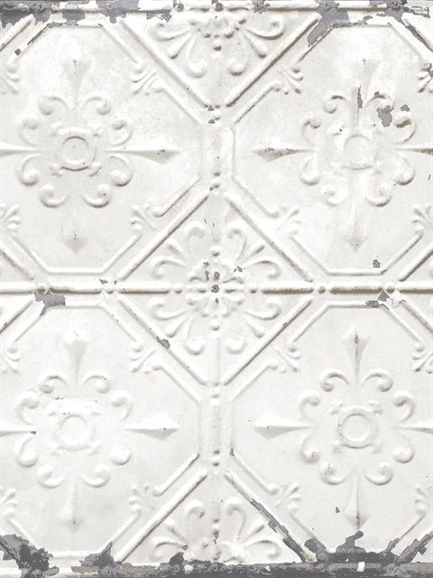 Vintage Tin Tile Off White Metallic Peel And Stick Wallpaper Vintage Tin Tiles Antique Tin Ceiling Tile White Tin Ceiling