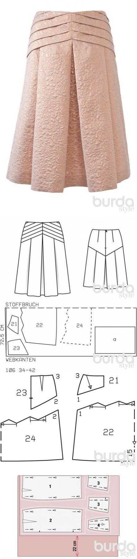 Юбка с треугольной кокеткой в складку / Мастер-классы / Burdastyle