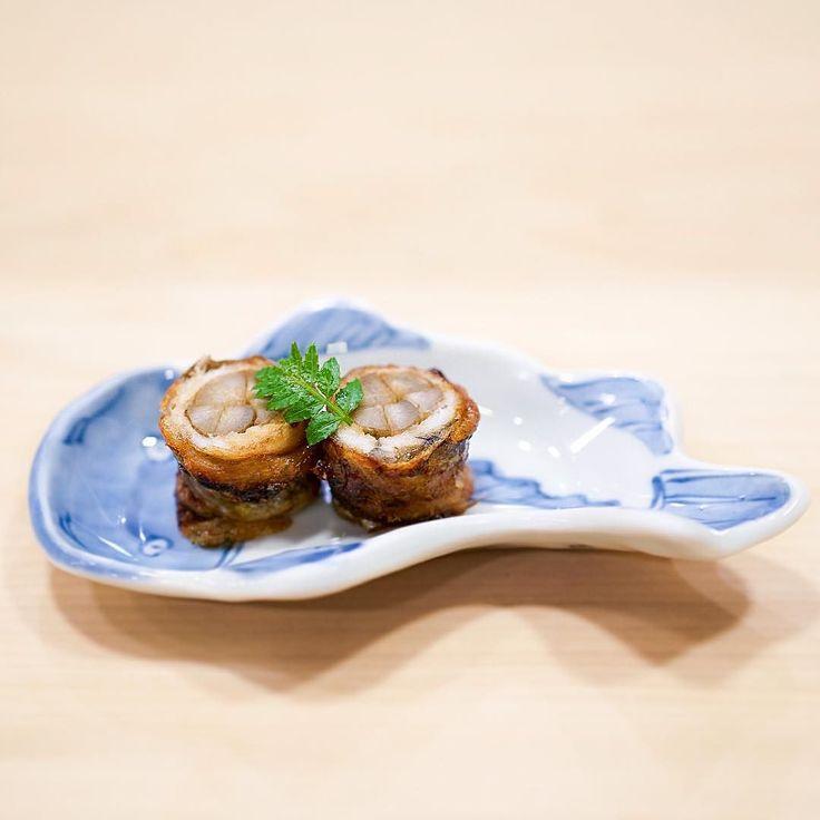 牛蒡穴子巻 Grilled Anago rolled with Gobo (burdock) - The main reason I visited Tokyo again in late February is to eat at Kyoaji Matsukawa and Saito. This was only my second visit to Kyoaji but it had became one of the best meals ever since the first bite of the first dish (white miso) during my first visit. Anago and Gobo one of the most enjoyable ways to have Anago the sweet aftertaste with a umami flavor was unforgettable. - Kyoaji 京味 Tokyo #MissNeverfull_Tokyo by miss_neverfull