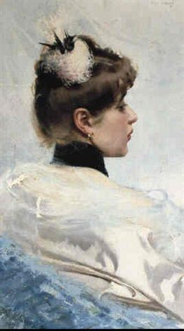 Portrait of a lady with a hat by Vittorio Matteo Corcos