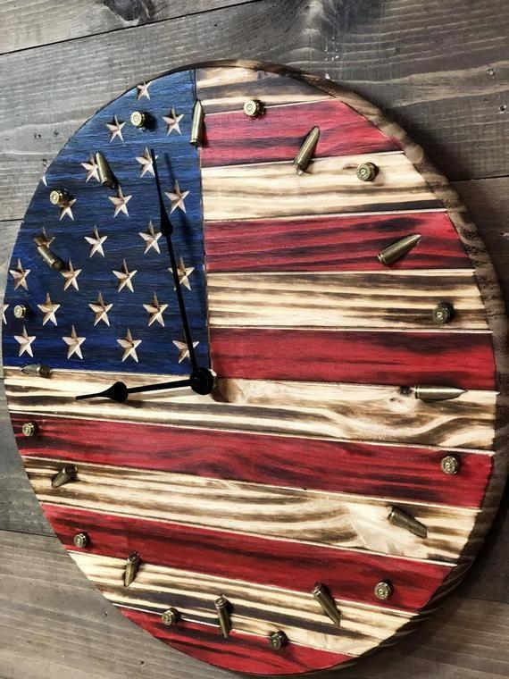 American Flag Clock Patriotic Flag Bullet Clock Rustic Image 2 American Flag Wood Rustic American Flag Wood Art Projects
