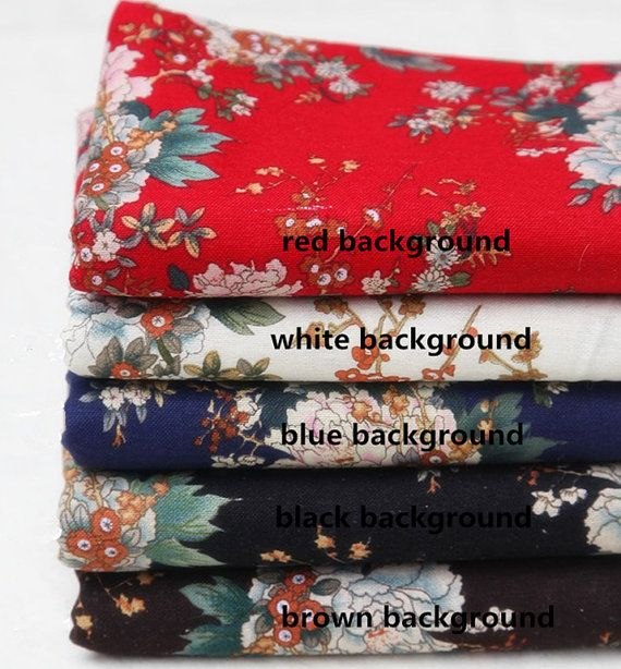 Peony Flower Fabric Cotton and Linen Floral Fabric  for