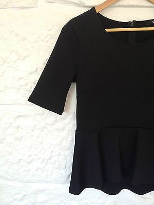 Ladies Sportsgirl Black 3/4 Sleeve Peplum Office Work Top Blouse - XS - RRP $85  Now selling - Click through to go to eBay auction!