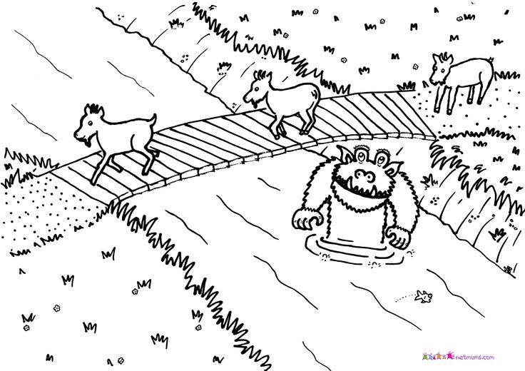 three billy goat gruff coloring pages | three billy goats gruff printable puppets free - Google ...