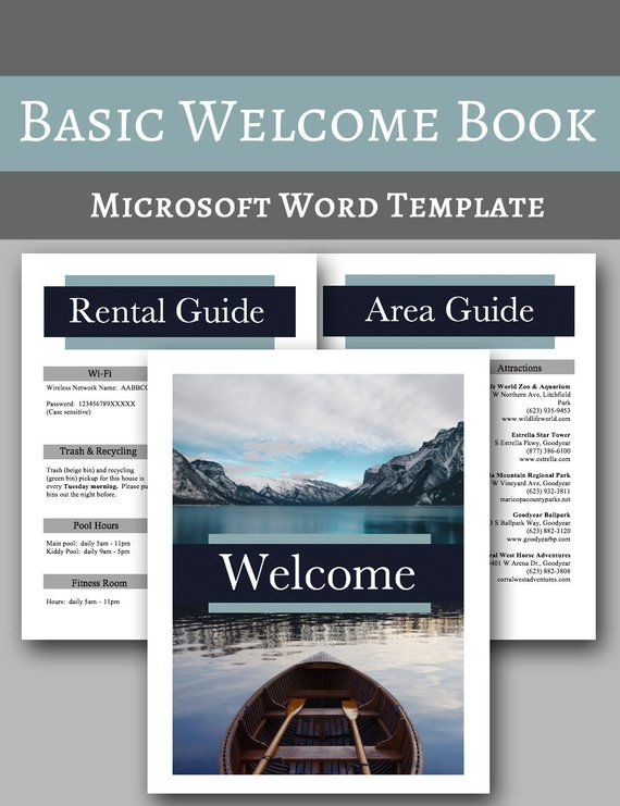 Welcome Book -- Vacation Home Welcome Book Template, Airbnb Cabin - rental agreement letters