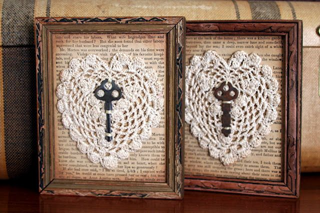 Vintage frames with book pages, lace doilies and old keys