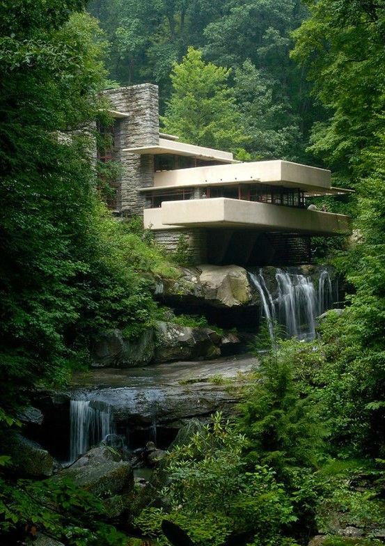 Falling Water, Frank LLoyd Wright.  Art Experience NYC  www.artexperiencenyc.com/social_login/?utm_source=pinterest_medium=pins_content=pinterest_pins_campaign=pinterest_initial