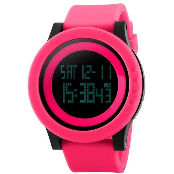SKMEI Alarm Luminous Digital Sports Watch ($15) ❤ liked on Polyvore featuring jewelry, watches, alarm wrist watch, digital wristwatch, digital wrist watch, sport watch and alarm watches