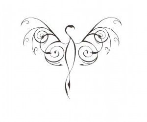 phoenix bird tattoo | thin_stylized_phoenix_bird_tattoo_design.jpg