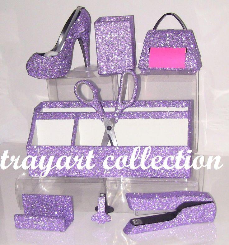 8pc Light purple,Tape Dispenser, Pop up Note Dispenser, Organizer, Pen Holder, Stapler, Scissors, Hole Punch, Desktop office supplies. $189.00, via Etsy.