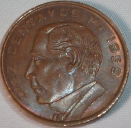 Rare Vintage Coin 1959 Mexico 10 Centavos, Excellent Condition: Very Fine Details Visible http://www.amazon.com/gp/product/B00K8LHANG/?tag=p1nt-20