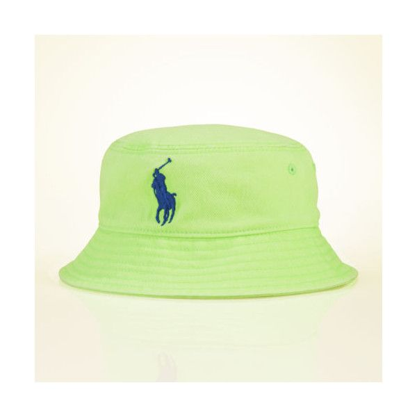 Ralph Lauren Cotton Bucket Hat ($7.99) ❤ liked on Polyvore featuring accessories, hats, buckethats, vibrant lime, ralph lauren, cotton bucket hat, ralph lauren hat, stitch hat and embroidered hats