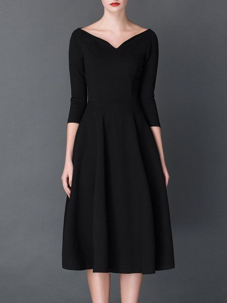 Shop Midi Dresses - Black Casual Bateau/boat Neck Plain Skater Midi Dress online. Discover unique designers fashion at StyleWe.com.