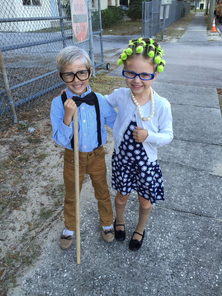 100th day of school costumes! Mini grandpa and grandma