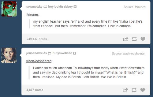 """Sometimes when I walk out to the living room after being locked up in my room watching youtube for a long time I see my dad yelling at the tv because american football is on while my mom is making hamburgers and think """"what are they, american?"""" And then I remember. They are american. I'm american. We live in America."""