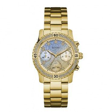 W0774L2 Γυναικείο μοντέρνο ρολόι GUESS με χρυσό-μπλε καντράν, πέτρες και επίχρυσο μπρασελέ | Γυναικεία ρολόγια GUESS ΤΣΑΛΔΑΡΗΣ στο Χαλάνδρι #Guess #επιχρυσο #μπρασελε #γυναικειο #ρολοι