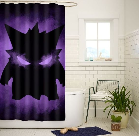 Pokemon Gengar High Quality Custom Shower Curtain Size 60x72 and 66x72 #Unbranded