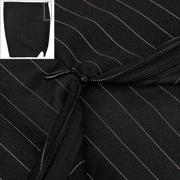 Women Sexy Stripe Zipper Front Bustier Suits Elegant Short Skirt Business Corset Sets