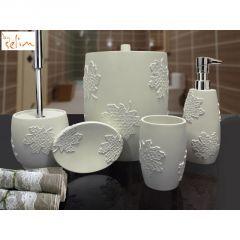 Selim 148K10 Flora Gri Banyo Seti, gri banyo seti, banyo seti, banyo seti çeşitleri, banyo seti fiyatları, şık banyo seti, dekoratif banyo seti, güzel banyo seti