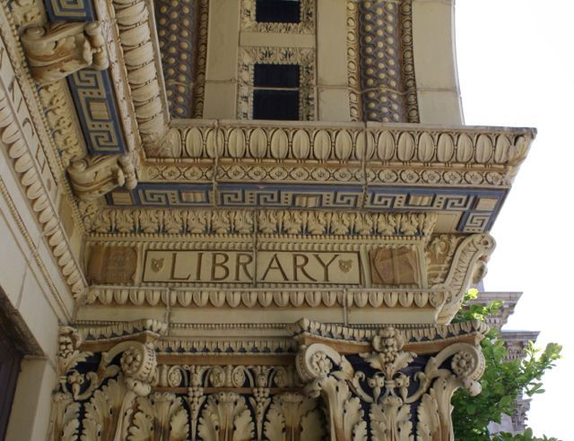 Make a day out of visiting our beautiful Carnegie libraries; pictured: Rookwood tile at one of the Carnegie libraries in #Cincinnati